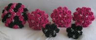 WEDDING FLOWERS PACKAGE - 6 ARTIFICIAL FOAM ROSE BOUQUETS BLACK / HOT PINK BRIDE